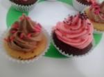 mini cupcakes rosa e marrom